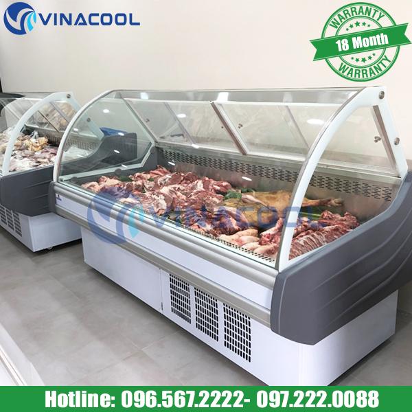 tủ mát trưng bày thịt trong siêu thị Vinacool