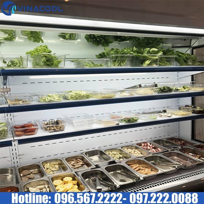 tủ mát trưng bày thức ăn tự chọn trong nhà hàng