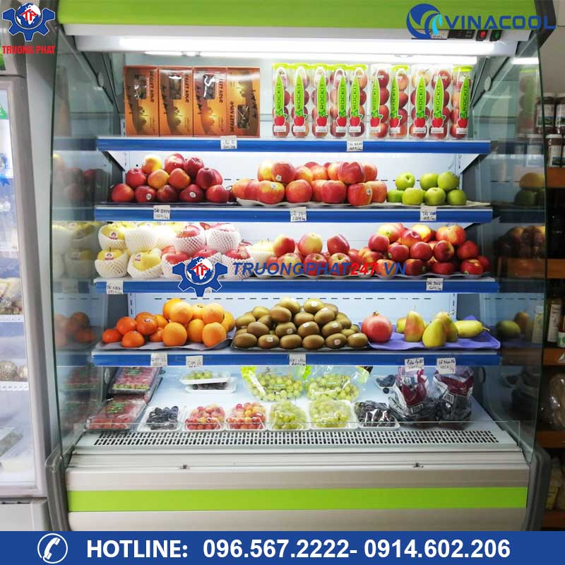 tủ trưng bày hoa quả nhập khẩu kính cong